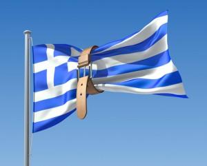 Greek Flag with Belt Tightening around it